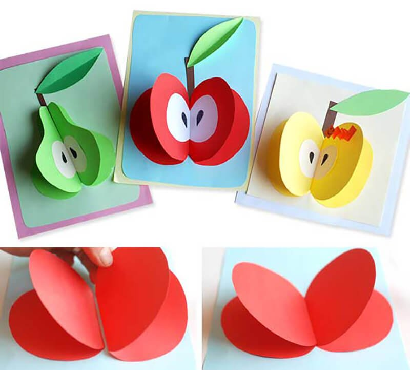 Открытки, объемные открытки яблоки