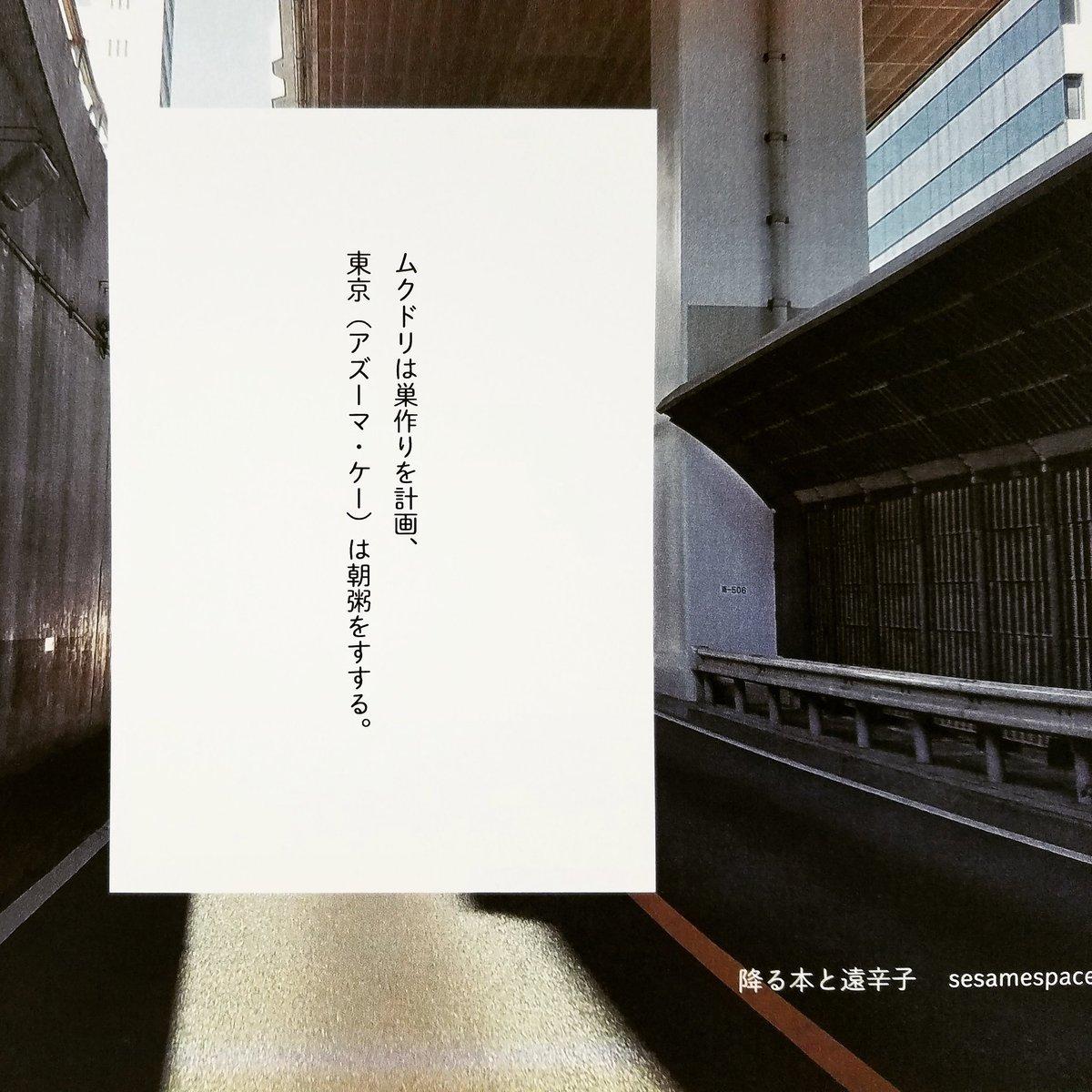 セサミスペース「降る本と遠辛子」 ムクドリは巣作りを計画、東京(アズーマ・ケー)は朝粥をすする。  http//sesamespace.blogspot.com/2018/05/blog,post.html?m\u003d1 \u2026