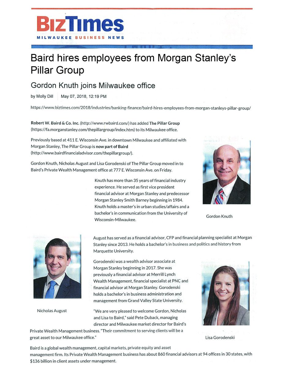 Pillar Group moves to Baird from Morgan Stanley