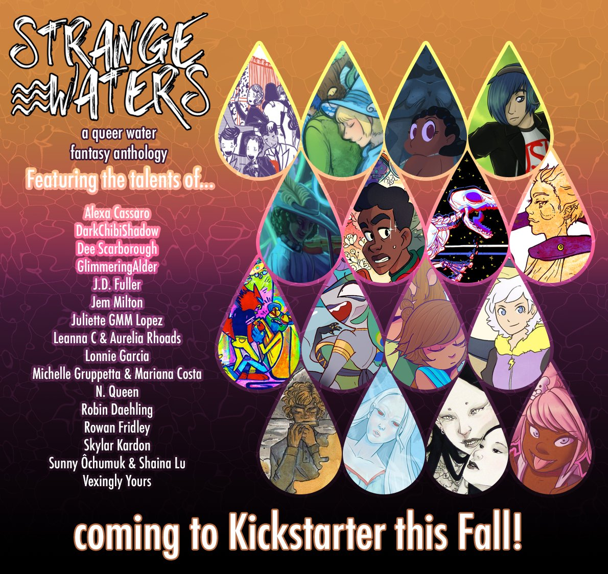 Hello #PrideBoost! Are you on the hunt for some comics by queer artists? Strange Waters, a queer water fantasy comic anthology, will be launching on Kickstarter in the Fall!