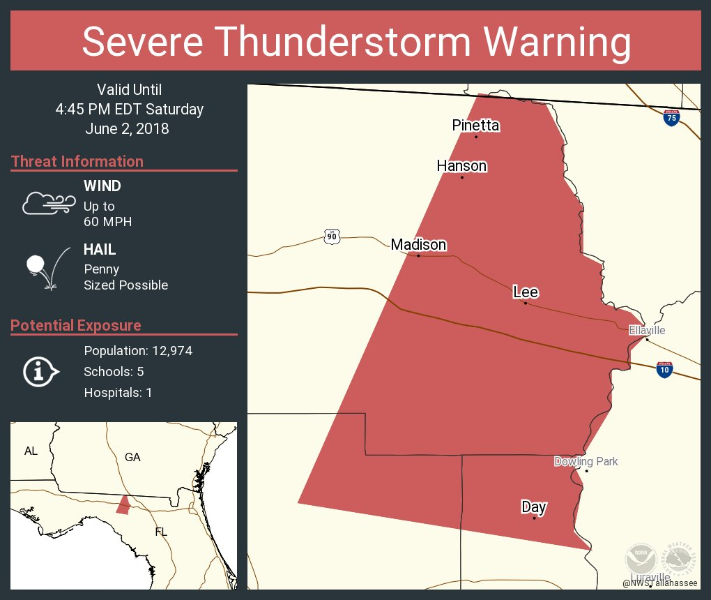Madison Florida Map.Nws Tallahassee On Twitter Severe Thunderstorm Warning Including