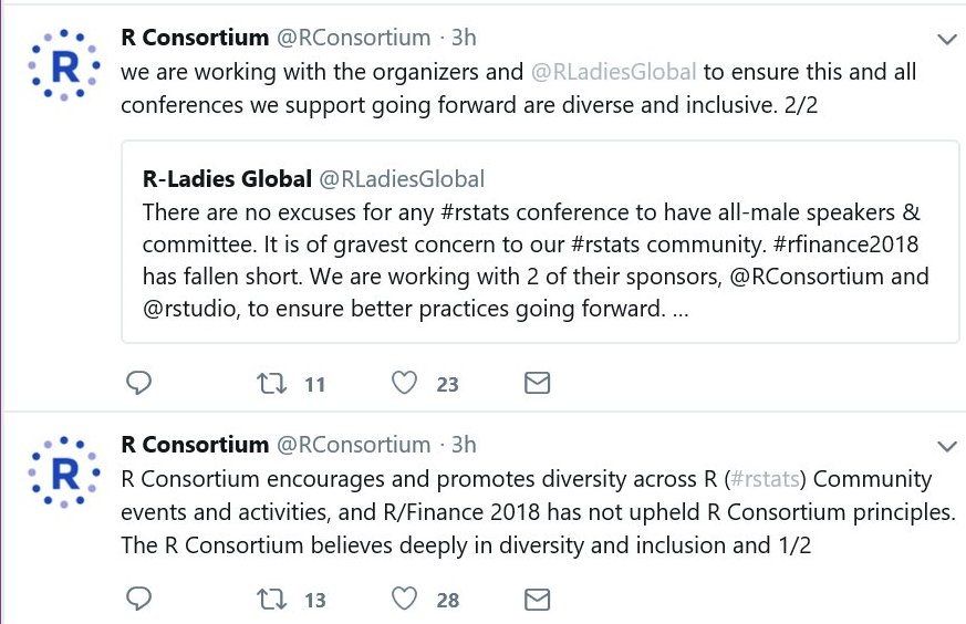ae1e5da14a6 RStudio and Microsoft both contributed to the  RConsortium statement  through board members. The entire statement is two separate tweets.