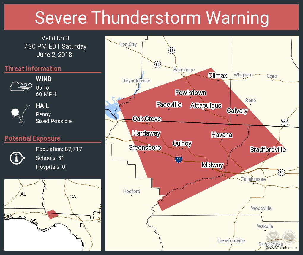 Midway Florida Map.Nws Tallahassee On Twitter Severe Thunderstorm Warning Including