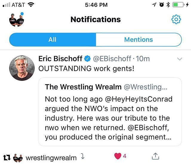 The @wrestlingwrealm is Eric Bischoff APPROVED!!! . . #Repost @wrestlingwrealm with @get_repost ・・・ Follow The @wrestlingwrealm on Twitter and see what Eric Bischoff thinks of our work including our NWO tribute return video. Still in shock honestly. …