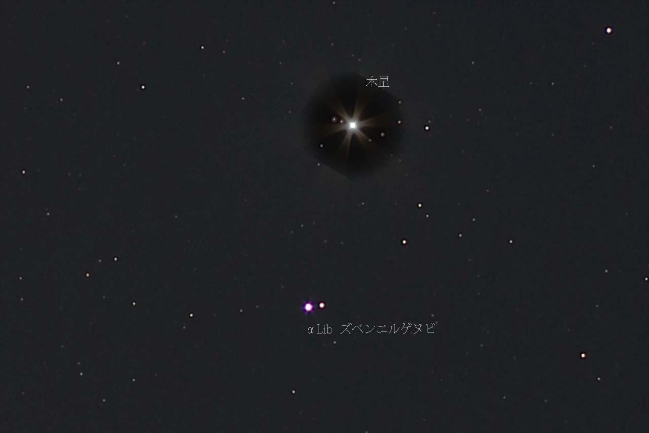 木星とてんびん座αの接近