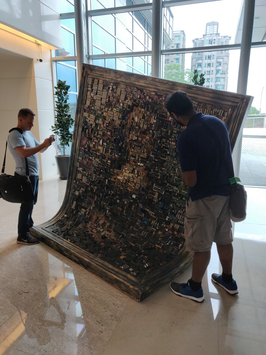 The coolest art piece at @ASUS HQ in Taipei ???? filled with motherboard components. https://t.co/RYx8PDqqgm