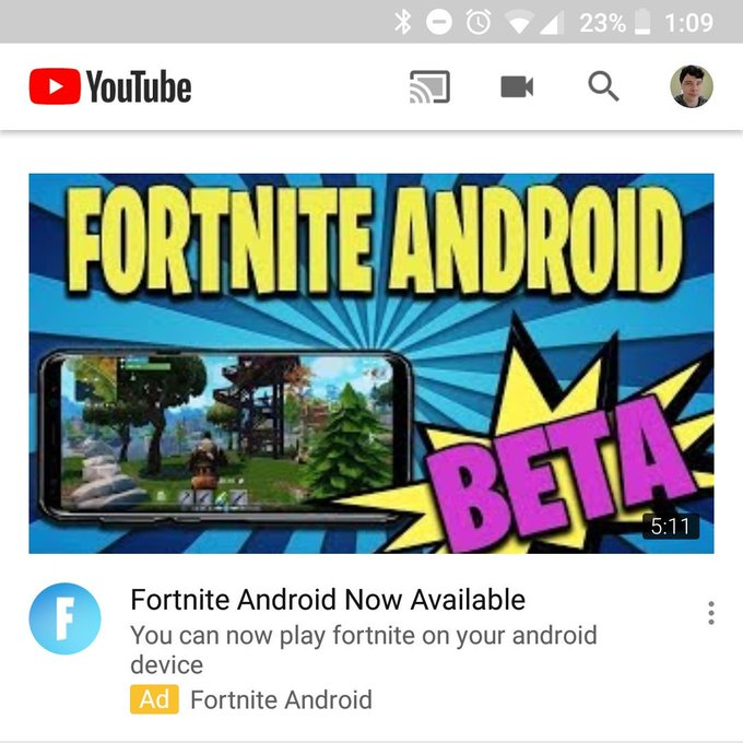 Fake advertisment for Fortnite on Android, which doesn't exist