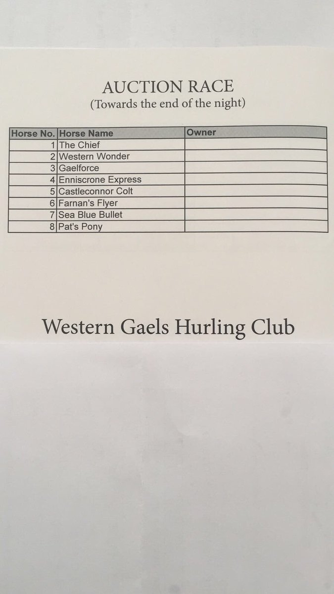 Western Gaels On Twitter Reminder Our Race Night Takes Place In Mcnulty S Bar Tonight 9 30 The Horse Names Have Been Finalised For The Auction Race Inspired By The Clubs In West