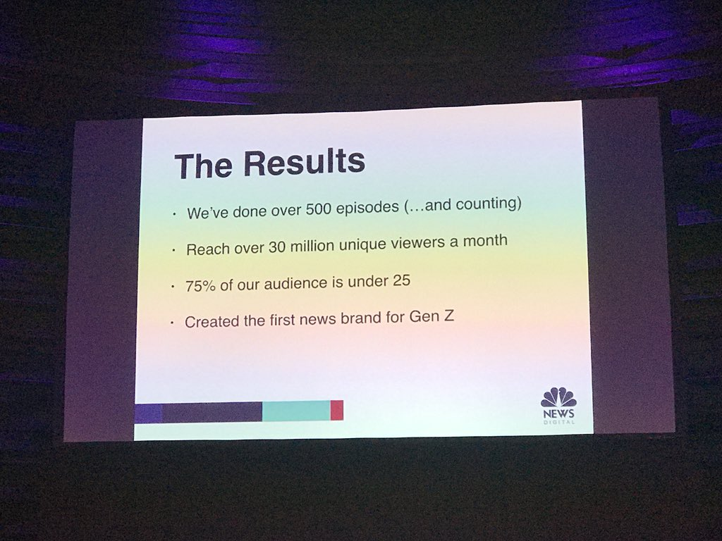 Andrew Springer from Snapchat format �Stay tuned� @NBCNews shows great results. #inma18