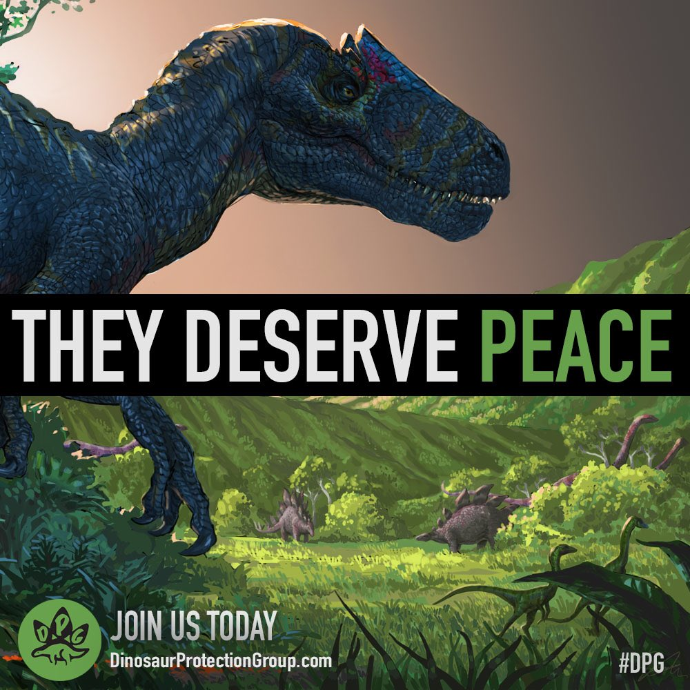 Image result for dinosaur protection group they deserve peace