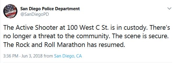 Shooter near San Diego marathon site has been taken into custody and the 'scene is secure,' according to authorities https://t.co/5bJV5KxXVh