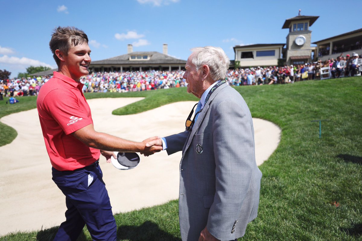 WHAT A FINISH! Congratulations to @b_dechambeau , our 2018 #theMemorial winner. That famous @JackNicklaus handshake isn't something he'll soon forget.