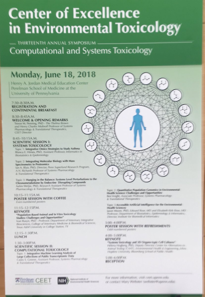 test Twitter Media - Now> Computational & Systems #Toxicology at 13th annual Center of Excellence in Environmental Toxicology symposium: w/ @GreeneScientist , @bvoight28 , @moorejh @UPennIBI , @JohnsHopkinsSPH , @TAMU, @UPennCEET_COEC , @NIEHS https://t.co/SyUfhMNpBz