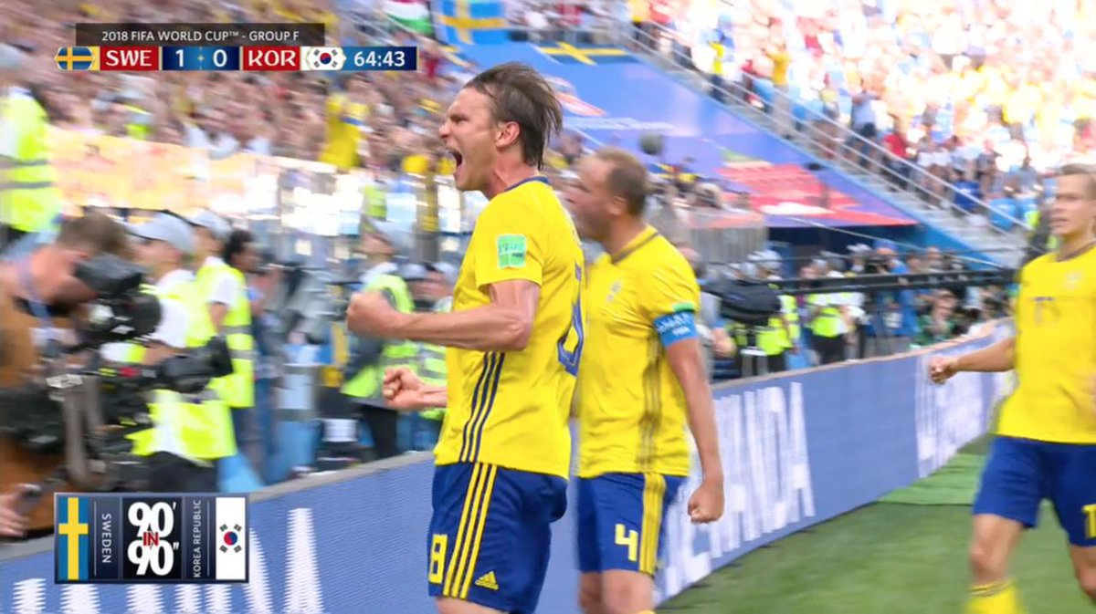 A clinical finish from Granqvist put Sweden in good position with an opening win over South Korea.  Watch all of the highlights in our 90' in 90' ⬇️