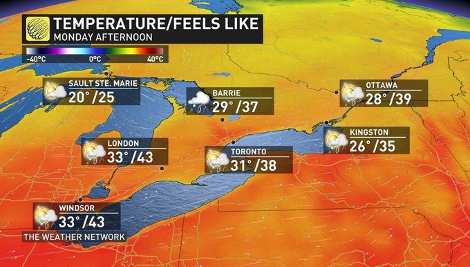 Hot, soupy weather across southern Ontario today will not only reach excessive and dangerous levels, it could be the perfect ingredient to fuel severe thunderstorms this afternoon and evening. Stay up-to-date on the warnings in your area. Latest: #onstorm Photo