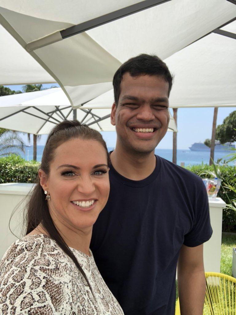 Enjoyed meeting w @LK @laurafrofro @wellskatie @kaymadati talking shop w @Twitter. Especially enjoyed seeing this guy, @sriramk!!! #CannesLions