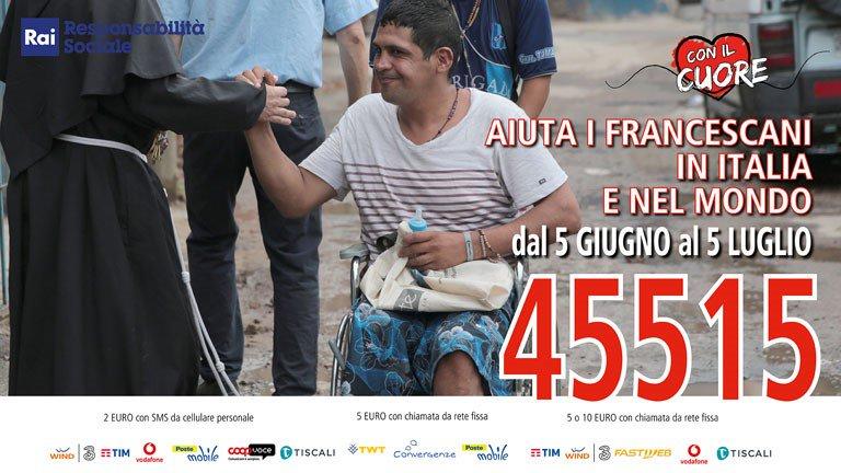 """Pagina @RespSocialeRai per #RaccoltaFondi """"Con il Cuore nel nome di Francesco"""" delle #missionifrancescane per aiutare le persone in difficoltà. Puoi #donare fino al 5 luglio chiamando o mandando un #SMSsolidale al 45515. @francescoassisi #conilcuore2018 http://bit.ly/2M0lPMc  - Ukustom"""