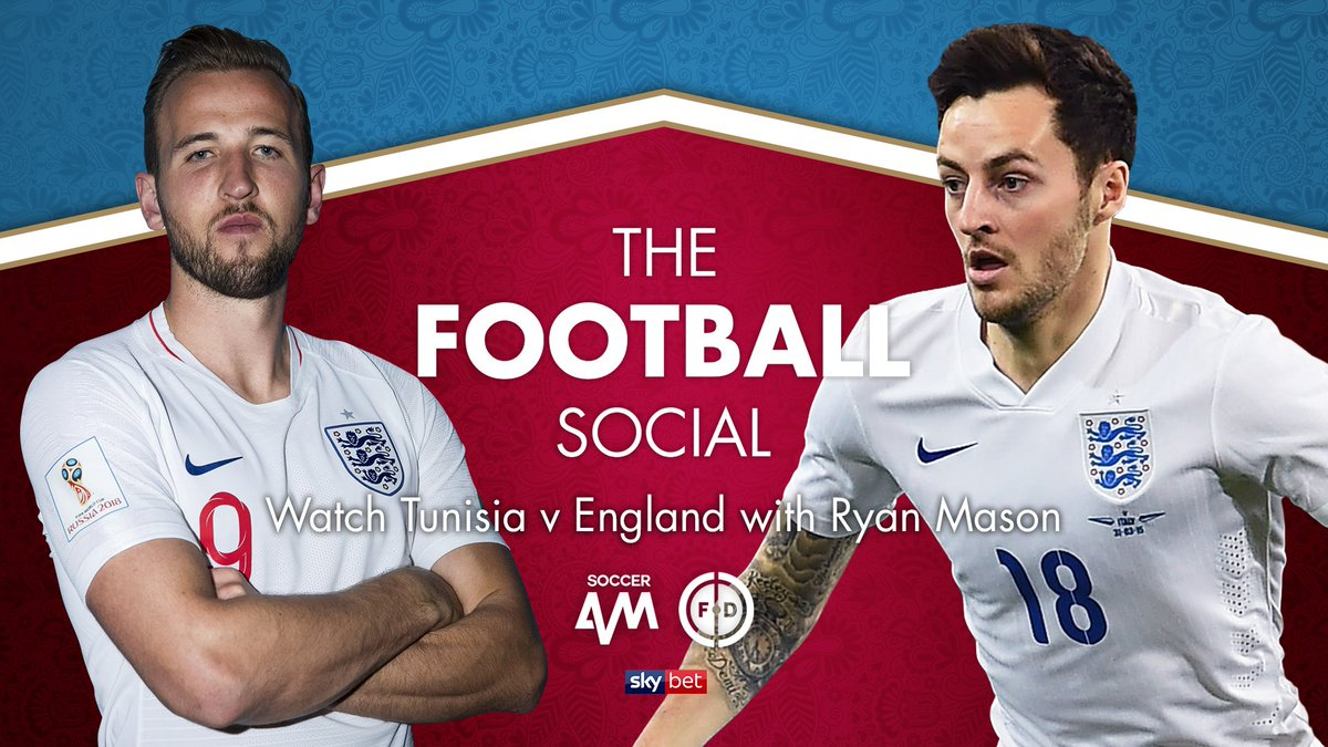 Watch the England game with Ryan Mason, LIVE on our Twitter, Facebook and YouTube!    6.30pm  Tunisia v England  @RyanMason  #TheFootballSocial<br>http://pic.twitter.com/Yx0lQ7Q6D6