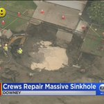 Image for the Tweet beginning: SUV crash causes sinkhole in