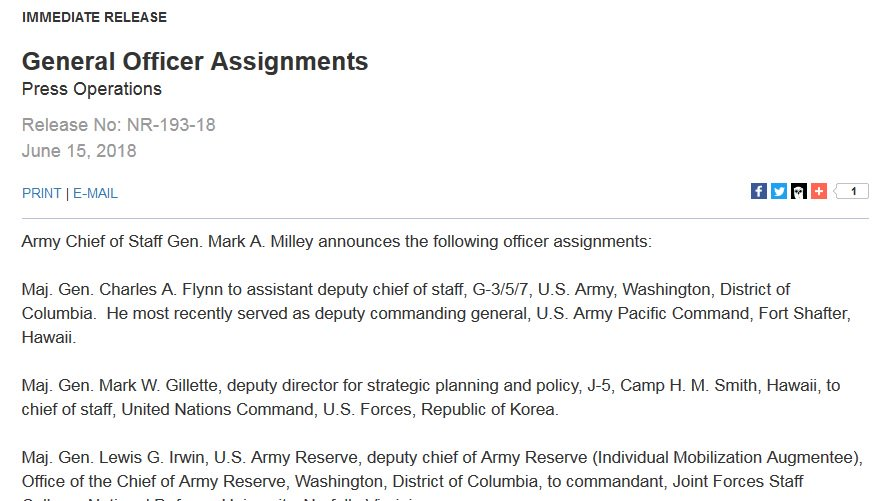 Pentagon announces that Army Maj. Gen. Charles Flynn -- Mike Flynn's brother -- is moving from Hawaii to Washington to take a job as an assistant deputy chief of staff.  https://t.co/P4azhhNVp0