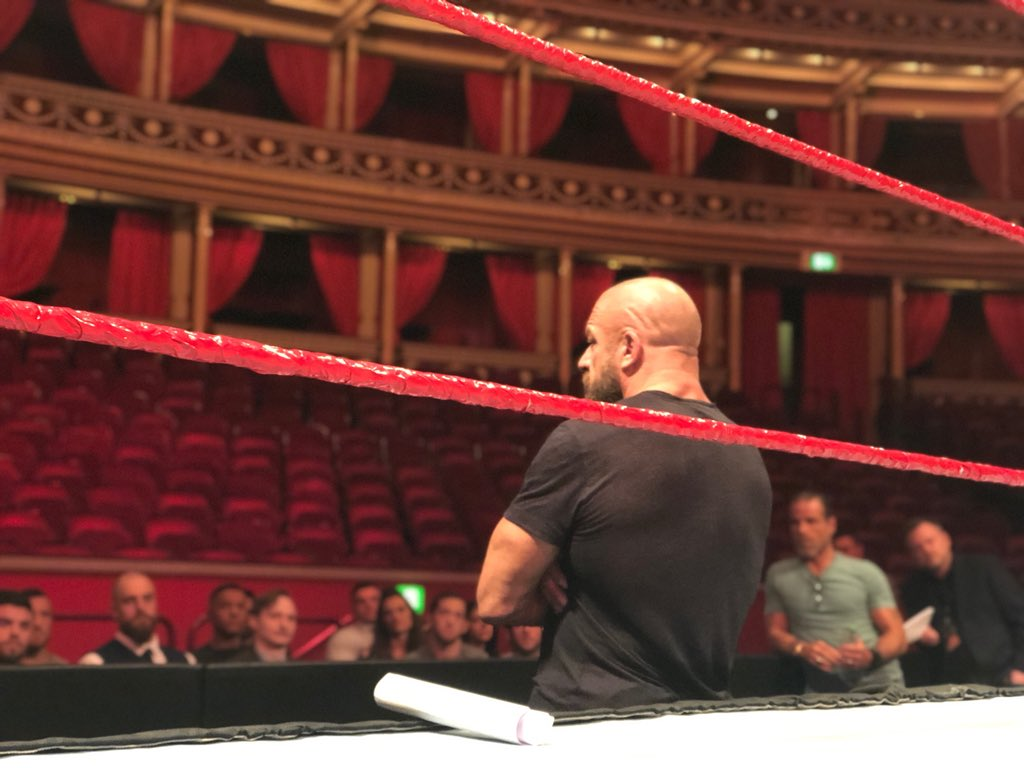 Final preparations before our historic return to @RoyalAlbertHall for the @WWEUK #WWEUKCT....