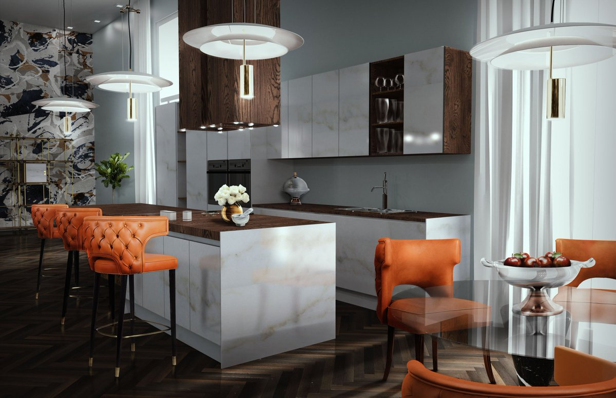 Covet House On Twitter Modern Contemporary Kitchen Decoration With Powerful Colors And Furniture Kansas Dining And Bar Chairs By Brabbu Are Undoubtedly A Strong Presence At This Set Making This Kitchen A