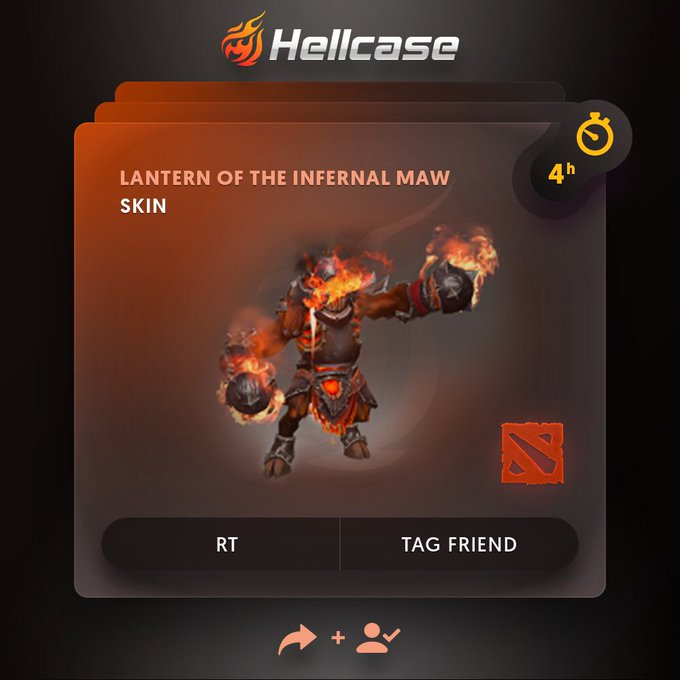 😈Hellcase DOTA 2 Giveaway! 🔻Click 🔻Follow us + RT 🔻Tag your friend 💰The prize is Lantern of the Infernal Maw! ⏳A winner in 4h! #dota2 #dota Photo