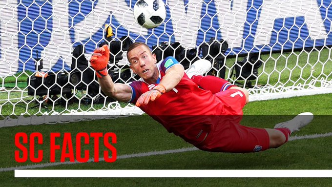 Hannes Halldorsson, who saved Lionel Messi's penalty kick in Iceland's 1-1 draw with Argentina, is a film director when he's not playing soccer. #SCFacts Foto