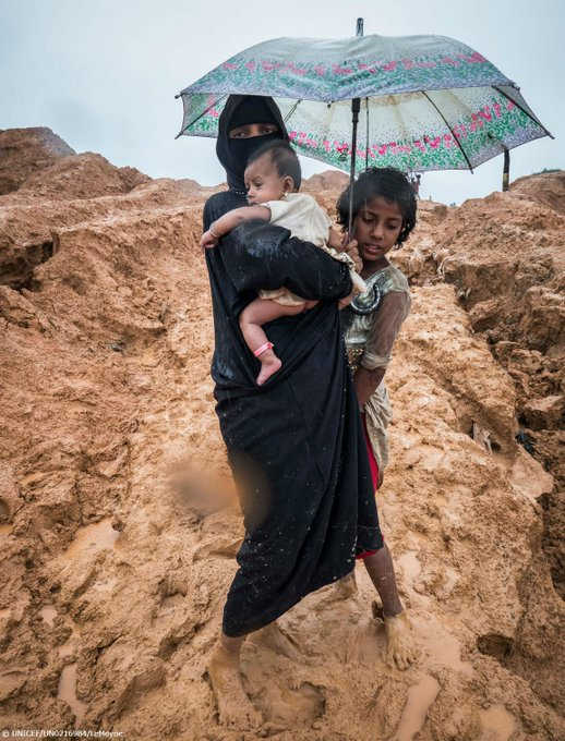 Barefoot, dirty and drenched. Thousands of vulnerable Rohingya refugee families are dealing with torrential rain and strong winds in Bangladesh. Photo