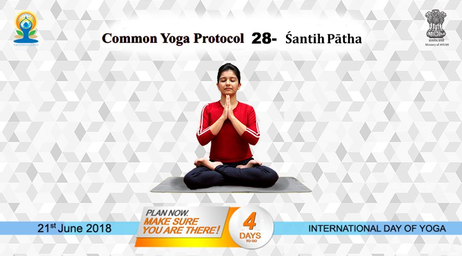 Common Yoga Protocol (CYP) 28 May All become Happy, May All be Free from Illness. May All See what is Auspicious, May no oneSuffer. OmPeace, Peace, Peace. For more details: yoga.ayush.gov.in #AYUSH #ZindagiRaheKhush #IDY2018