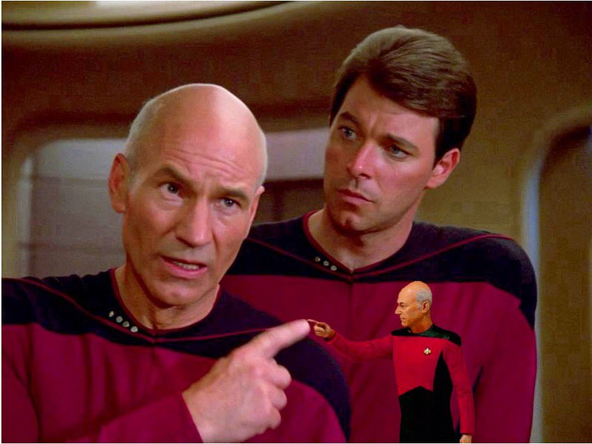 """Two Guys One Trek on Twitter: """"Hold that thought, Number One; it's CAPTAIN  PICARD DAY!!! 🎉🍻 #startrek #tng #thenextgeneration #picard #jeanlucpicard  #happypicardday #captainpicard #captainpicardday #riker #enterprise…  https://t.co/LcFhxBCoz7"""""""