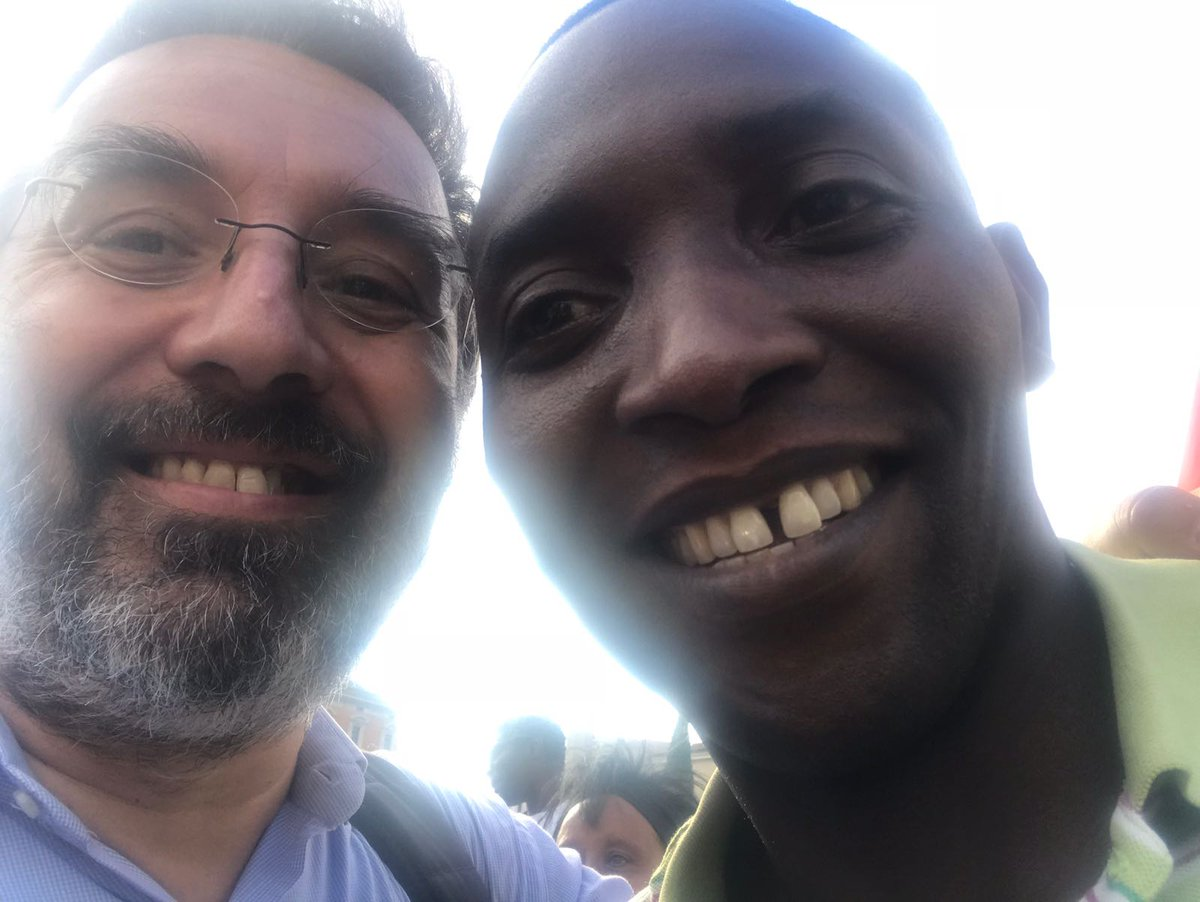Aboubakar Soumahor con Marco Damilano aspettando #domenicaEspresso