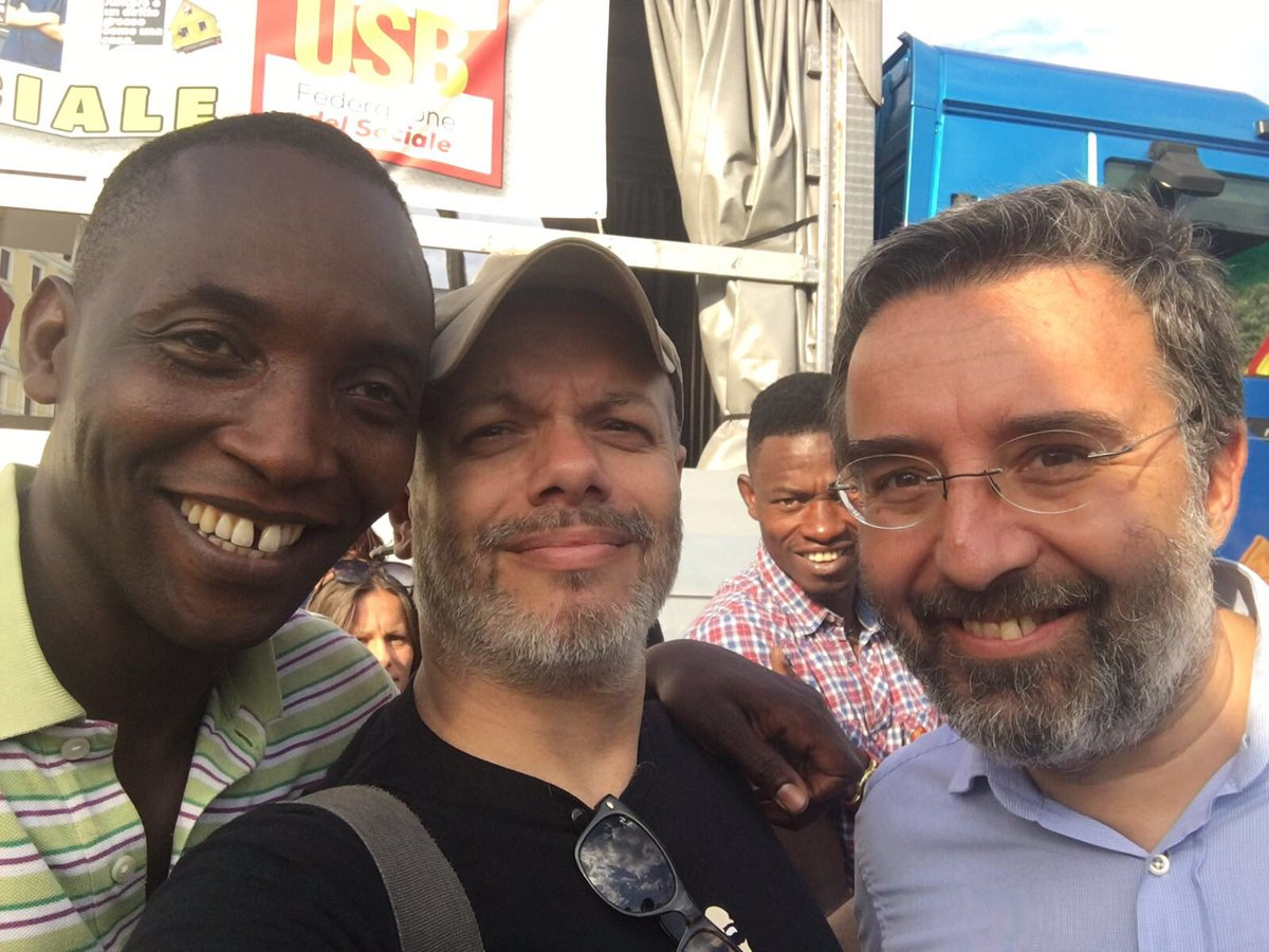 Aboubakar Soumahor con Marco Damilano e Zoro aspettando #domenicaEspresso #uominieno