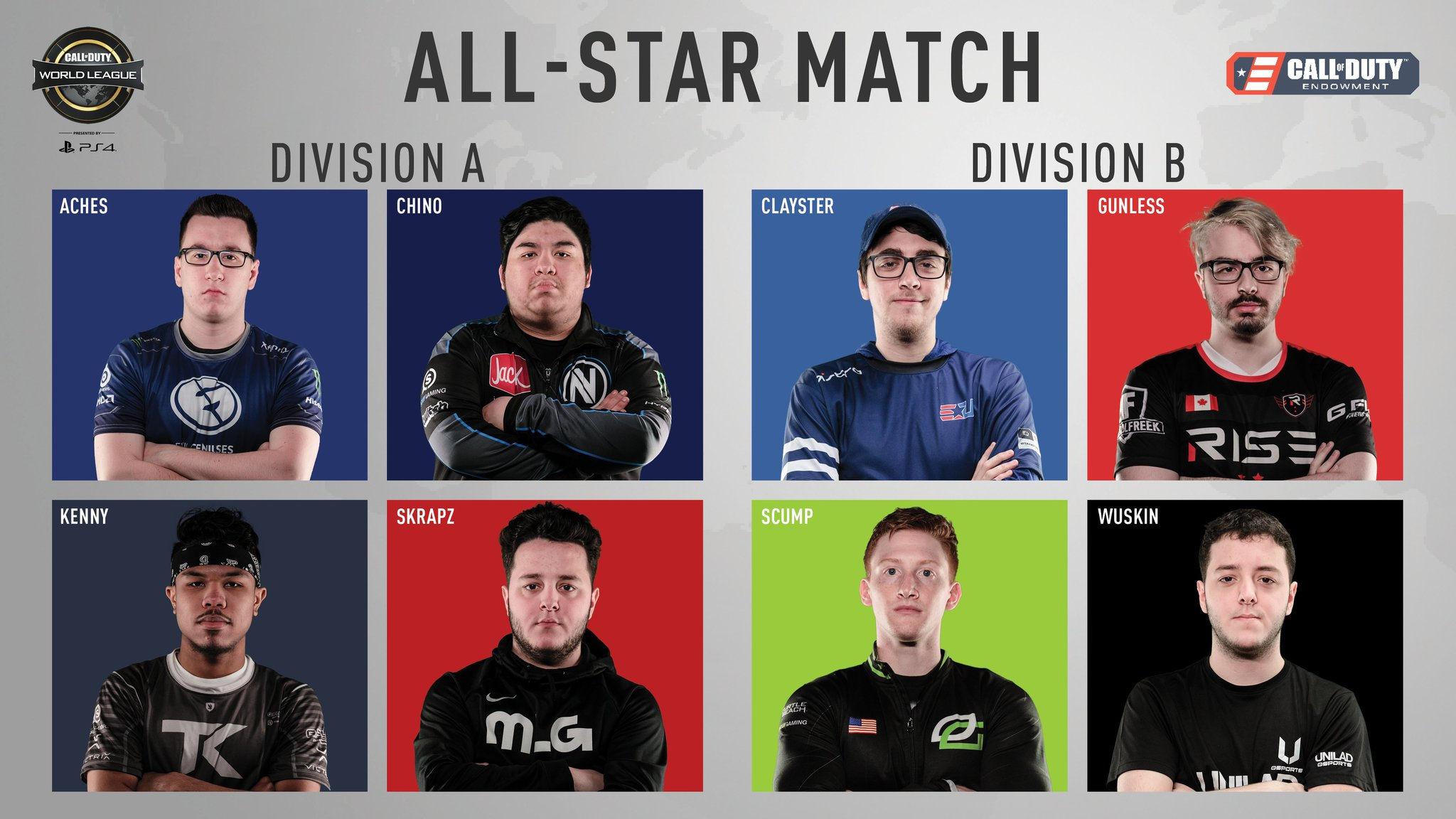 Division A vs Division B ��  Tune in now to the @CODE4Vets #CWLPS4 All-Star Game! https://t.co/NKHQSgV6Gh https://t.co/HmKmbpTrYE