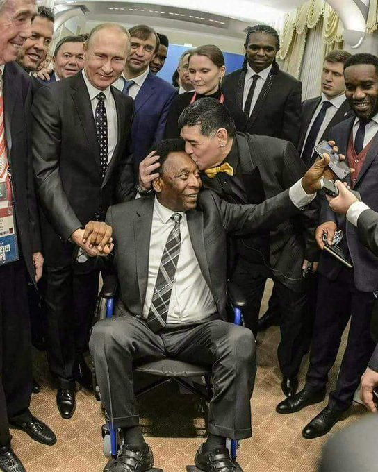 Pele arrives in Russia for the FIFA World Cup The man with 1283 goals & 3 world cups now needs a wheel chair to get around. Pele being welcomed by President Putin to the World cup & kissed by the legendary Maradonna!! This is the wheel of life. Love Live & Forgive!!👍🙏🙏🙏🙏 Photo