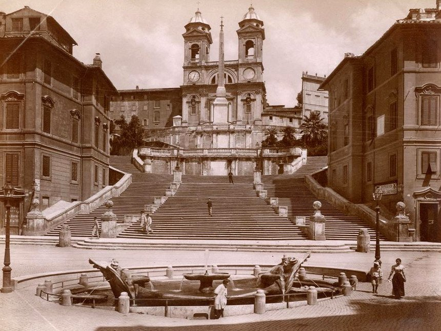 I N T E R V A L L O 1878-Roma, Chiesa Trinità dei Monti. ..come eravamo.. ♠♥♦♣ Felice sera a tutti!🌟🌟