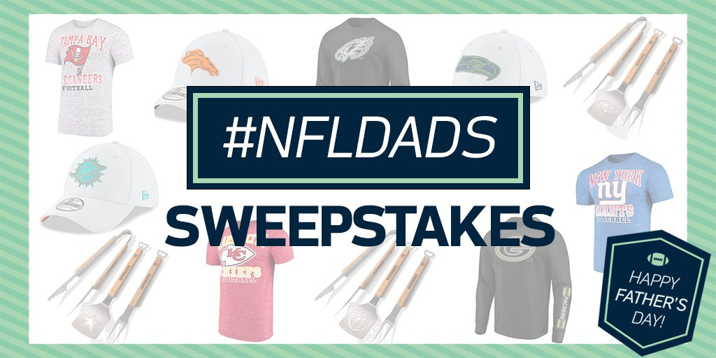 The #NFLDads Sweepstakes is underway! Check out the NFL Instagram story for the chance to win @OfficialNFLShop prizes for Dad on Father's Day!