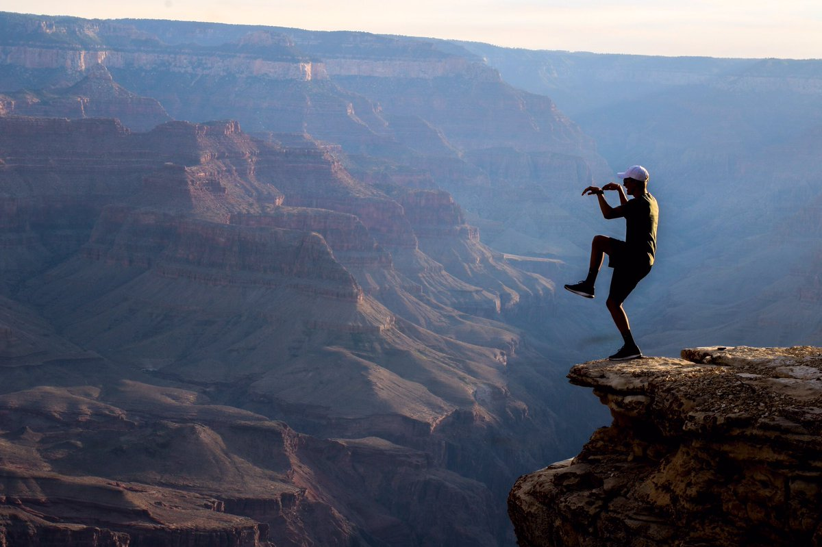 Isnt it everyones dream to karate kid on the edge of the Grand Canyon?