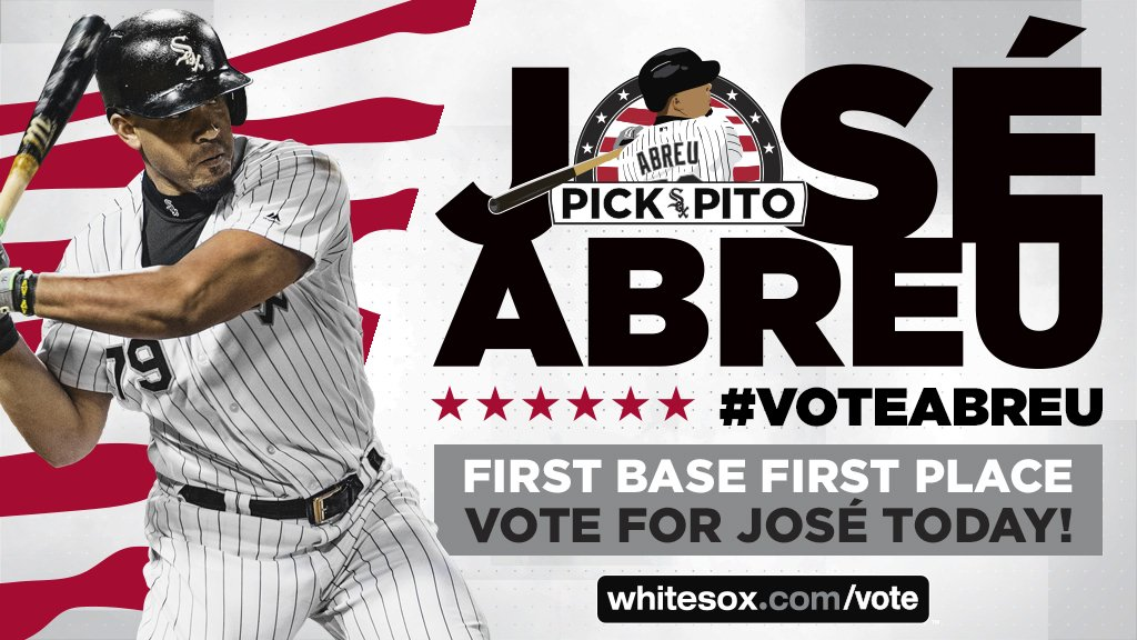 Lets help our friend José Abreu become an All-Star! Visit whitesox.com/vote now to send the @whitesox first baseman to the 2018 MLB All-Star game. Voting ends July 5. #VoteAbreu