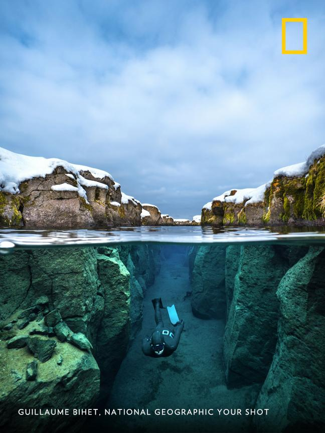 The beauty of freediving in these ice-cold glacier waters was unparalleled, says Your Shot photographer Guillaume Bihet about this location in Iceland on.natgeo.com/2lc7AZi