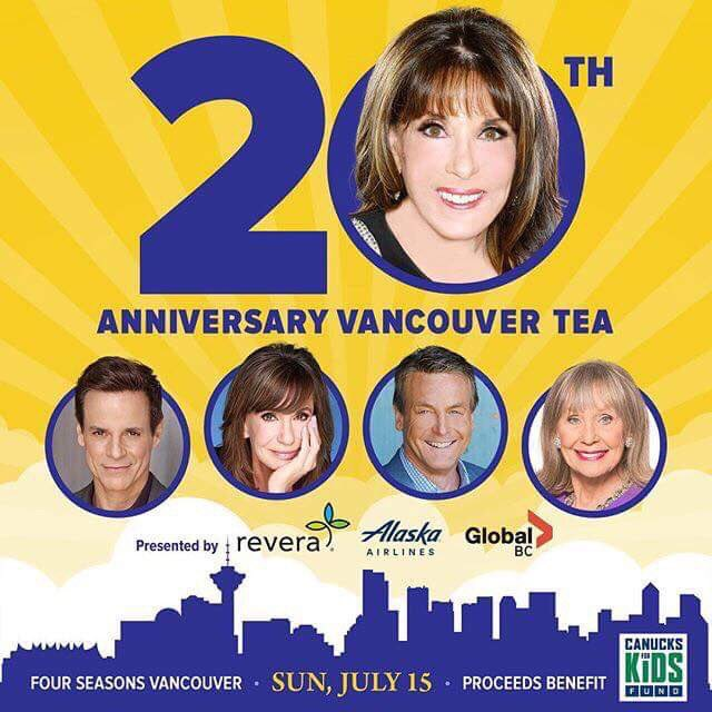 4 weeks until the @Canucksforkids 20th anniversary Vancouver Tea- Sunday, July 15 at the @FSVancouver sponsored by @Revera_Inc ! #YR stars in attendance are @KATELINDER @CJLeBlanc @JessWaltonYR @DougDavidsonYR & #MarlaAdams ! Tickets- katelinderafternoontea.com
