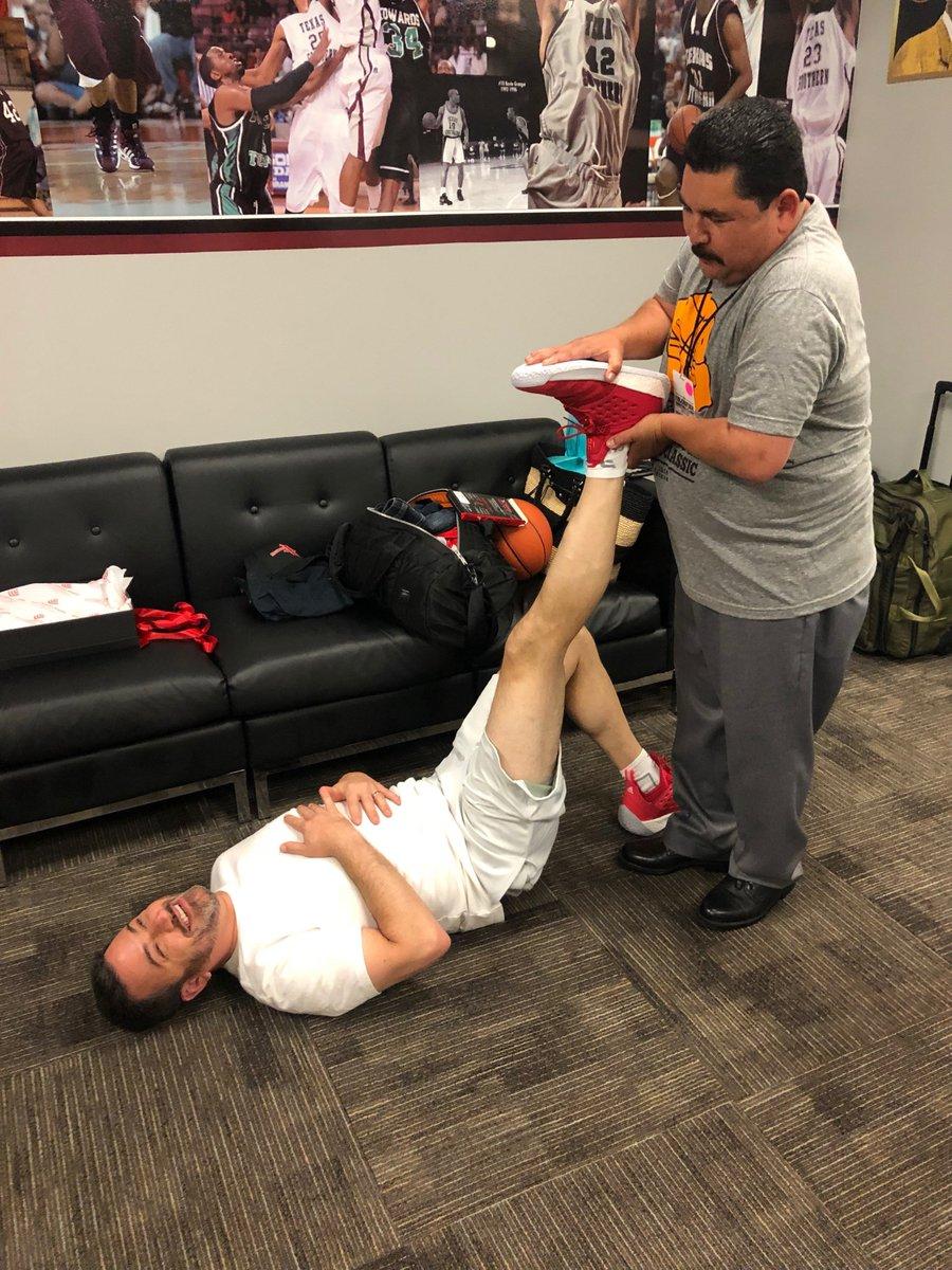 Stretching with my physical therapist. #KimmelvsCruz #BlobfishBasketballClassic