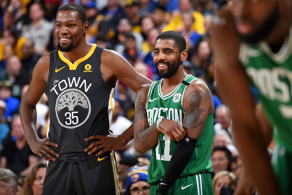 """Kyrie Irving on KD: """"...Yes, he's on an incredible team, but he's also the best player on that team."""" https://t.co/ML9bz5tzJ0"""