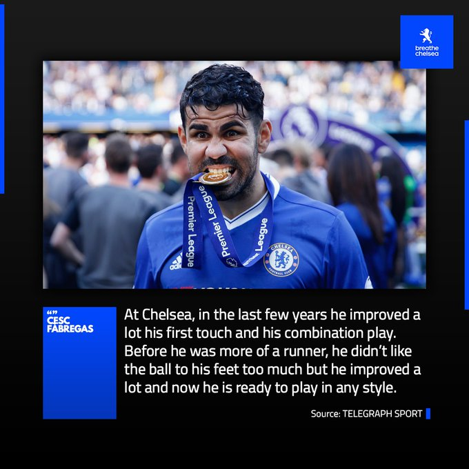 Cesc Fàbregas believes #CFC made Diego Costa the complete player. Do you think Costa appreciated the club enough? 🤔 Photo