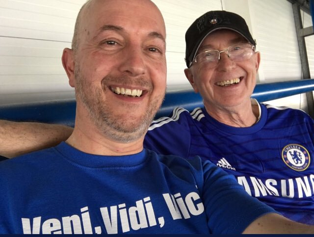 @ralpha060461 This is me and Dad last season at the Bridge, taking him for a slap up meal tomorrow with the family in London. We are celebrating also his 59th wedding anniversary I'm truly blessed to have Mum and Dad still with me. Photo