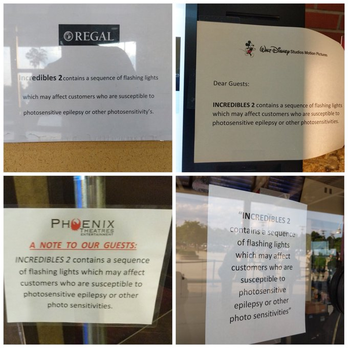 Four different paper signs at area movie theaters warning guests about strobing sequences in Incredibles 2