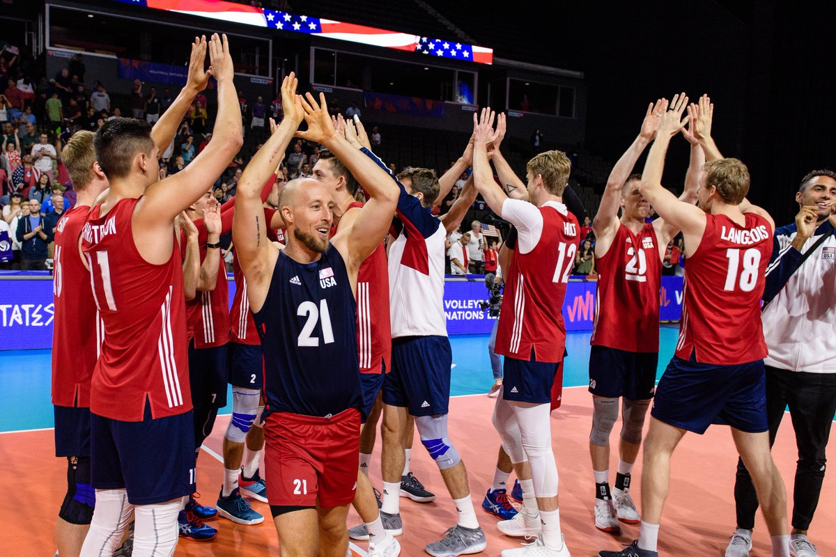 Starters for U.S. Men 🇺🇸 vs Poland 🇵🇱 at #VNL: Matt Anderson, Aaron Russell, T.J. DeFalco, Micah Christenson, Max Holt, David Smith and Erik Shoji. #GoUSA!