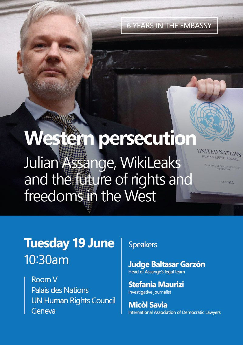 UN meeting, Geneva, Tuesday 19 June, 10:30am: '@julianassange, @wikileaks & the future of rights & freedoms in the West'   Backgr#HRC38o@UNHumanRightsund: https://t.co/Mb6gXlhwsi