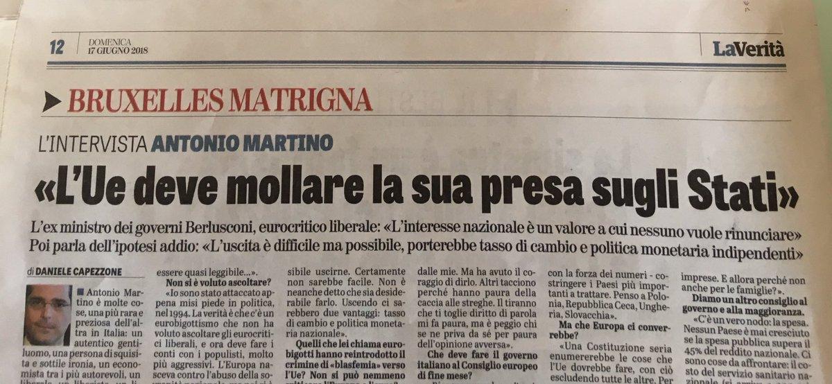 Un onore e un piacere conversare con #AntonioMartino su @LaVeritaWeb . Esiste anche un #euroscetticismo #liberale, fautore di #menotasse ma anche di #menospesa e #menopubblico. Da leggere: su #Friedman, #Lega e #Salvini , #Berlusconi, #Pd e #Renzi  - Ukustom