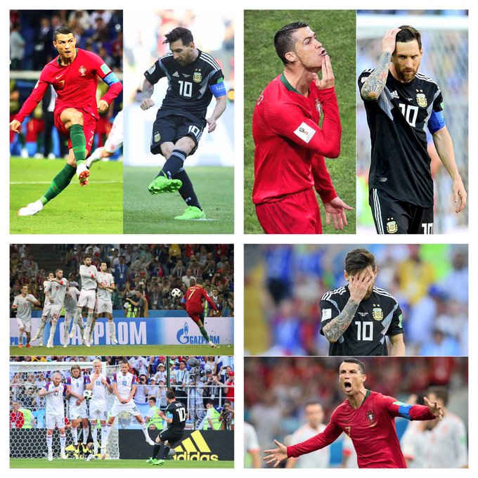Ronaldo v Spain and Messi v Iceland .......who is the best Photo